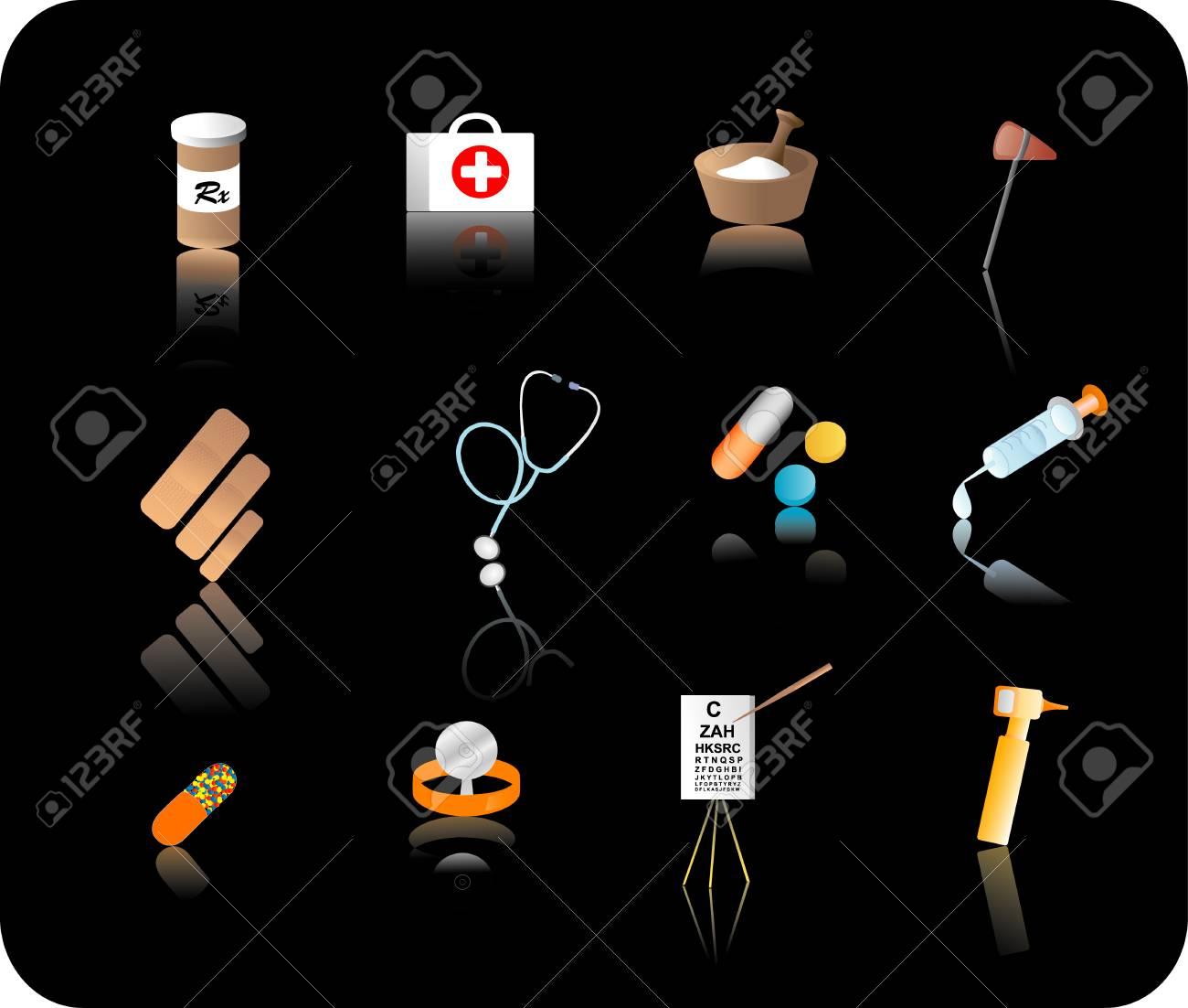 Color reflective medical icon set Stock Vector - 1606511