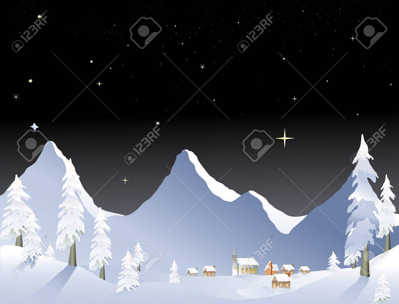 snowy mountain winter village at night Stock Vector - 1606517