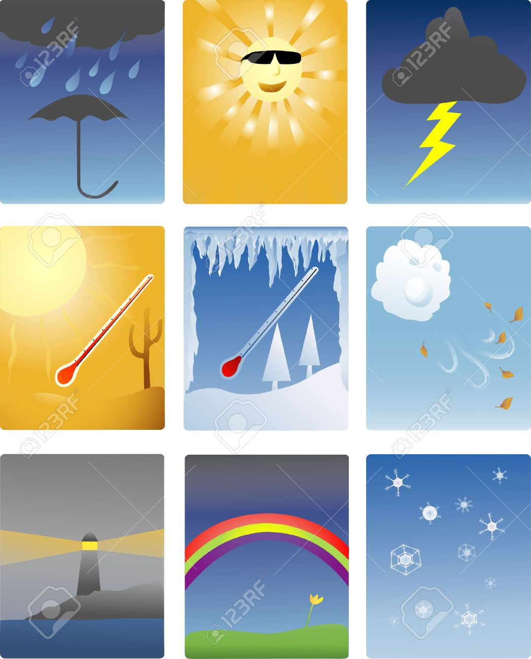 icons of different types of weather phenomena Stock Vector - 1606509