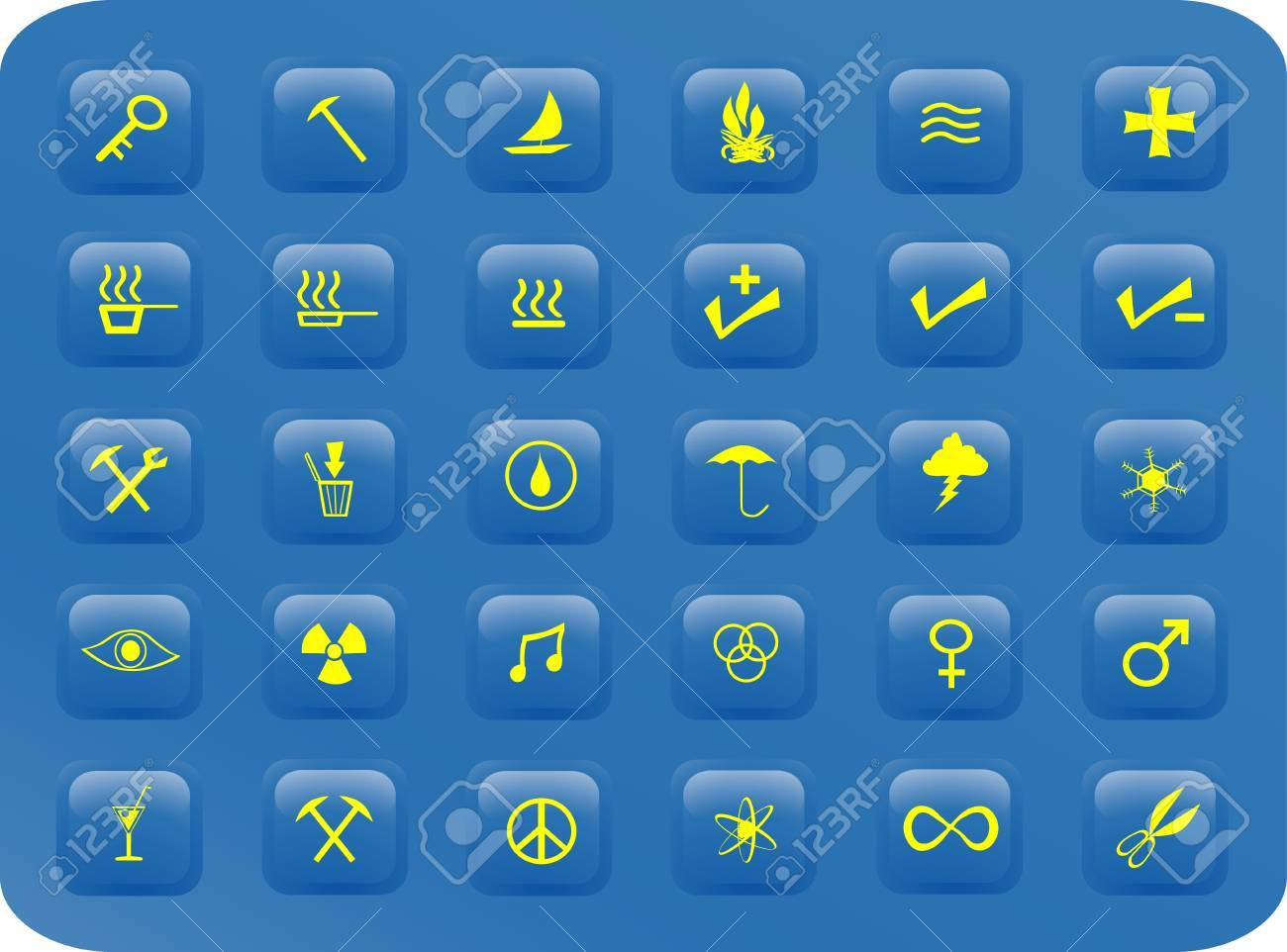 blue and yellow web buttons with various signs and symbols on them Stock Vector - 1606503