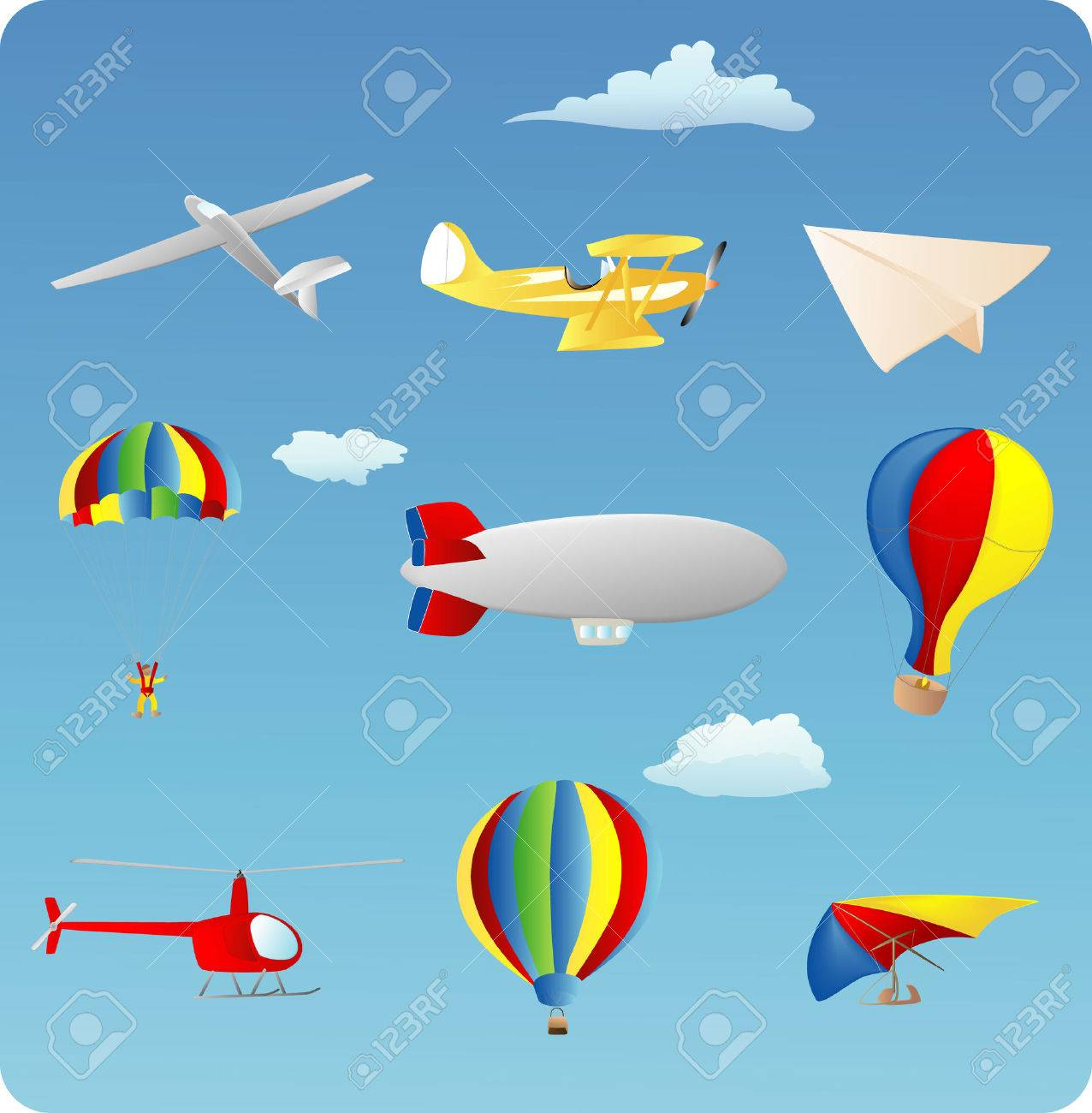 aviation themed set of various types of aircraft Stock Vector - 1676376
