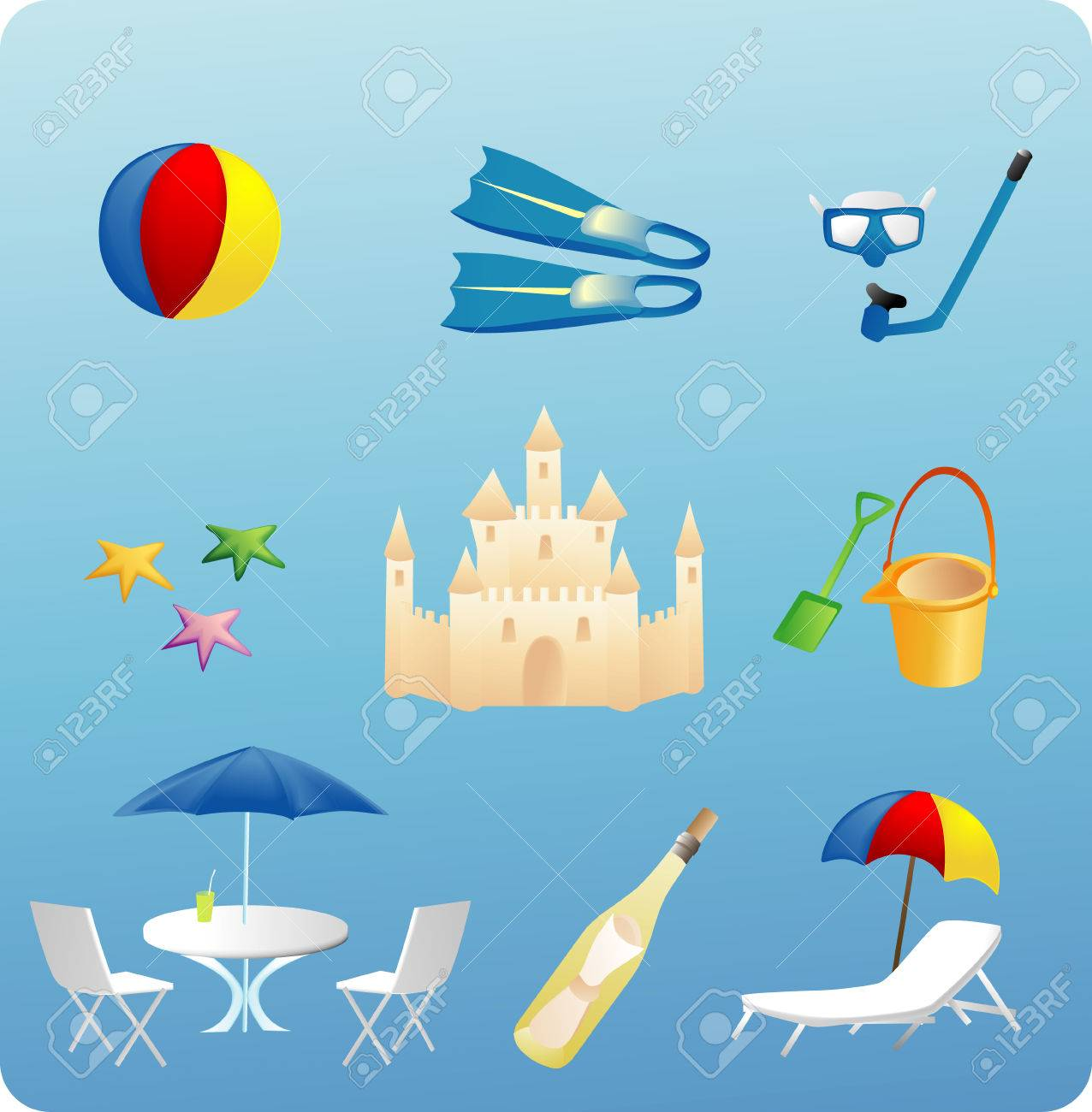 various beach themed objects and elements Stock Vector - 1676382