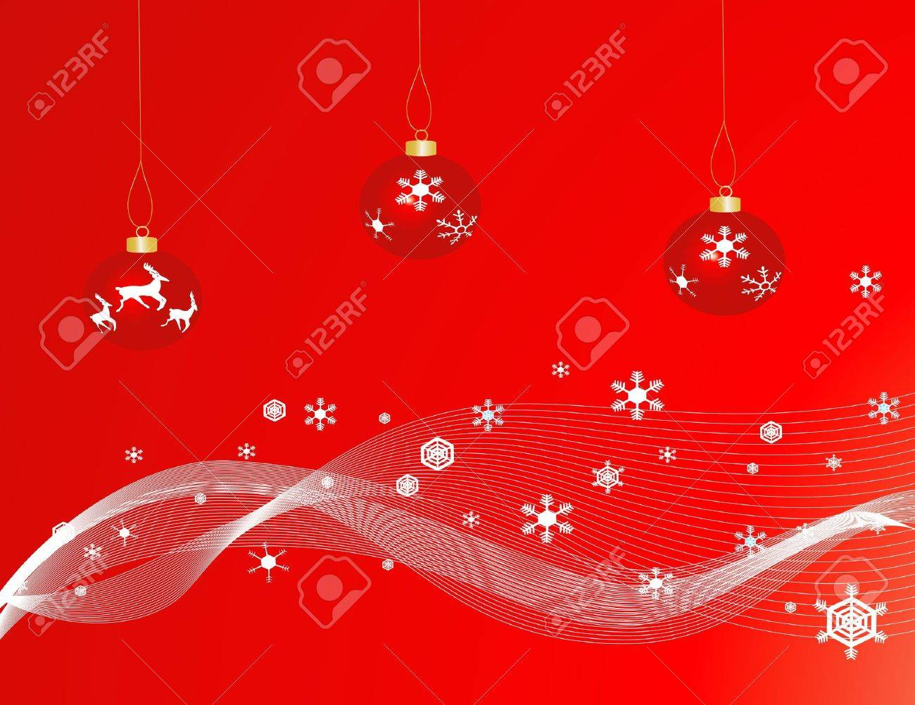 Red Christmas baubles against a red backgound with snowflakes Stock Photo - 1753970