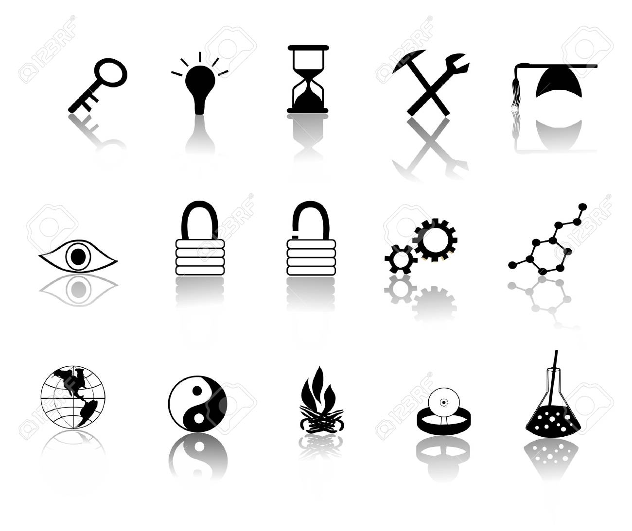 various black over white miscillaneous icons vector illustration Stock Vector - 2365528