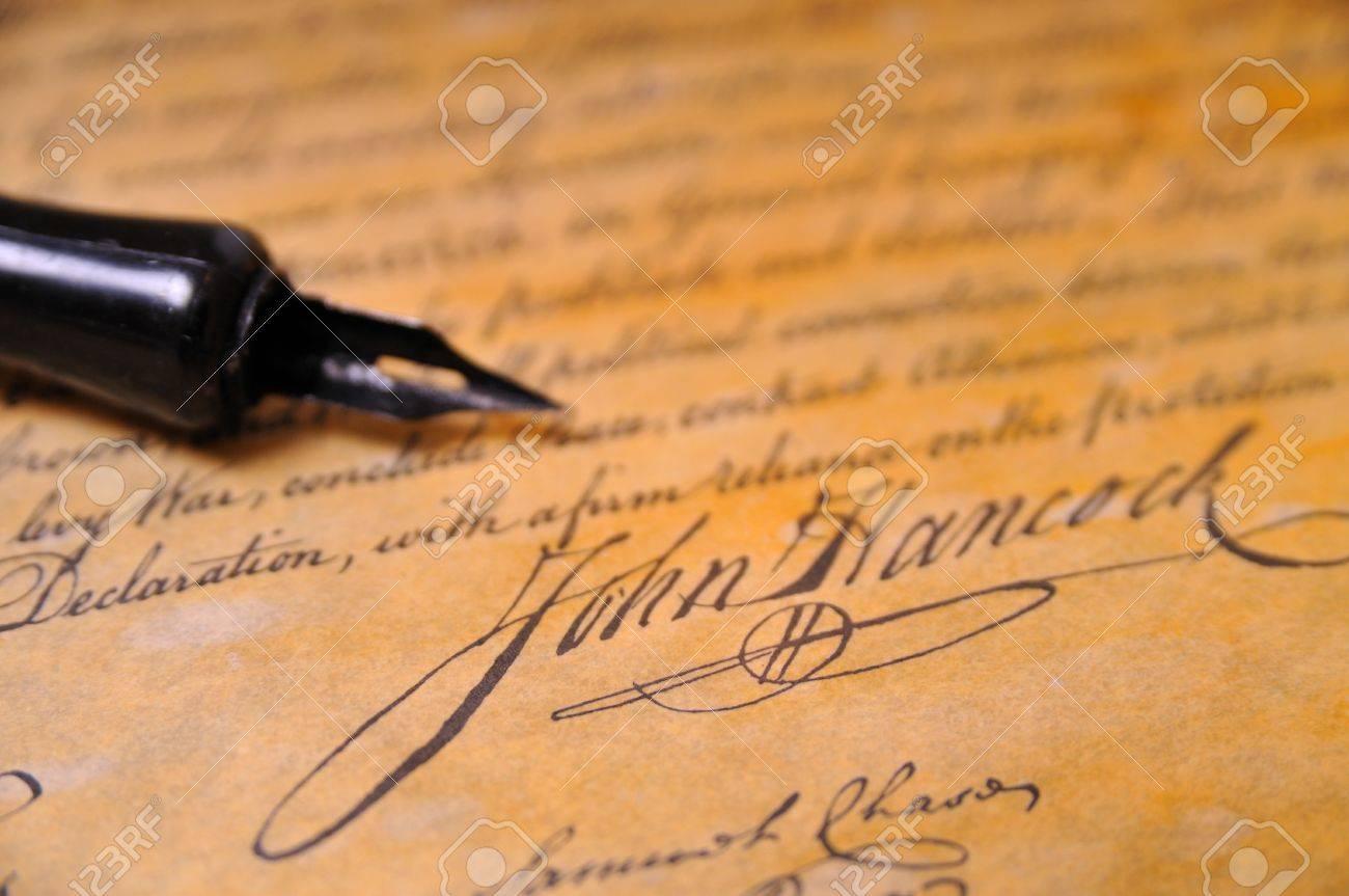 John Hancocks famous signature on the Declaration of Independence Stock Photo - 5090648