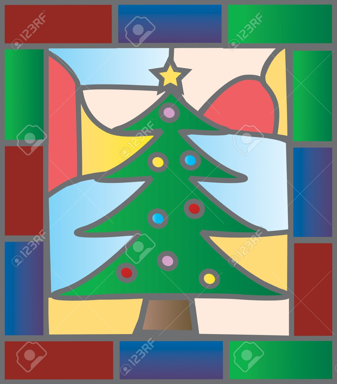 Christmas Tree Illustration In A Stained Glass Window Style ...