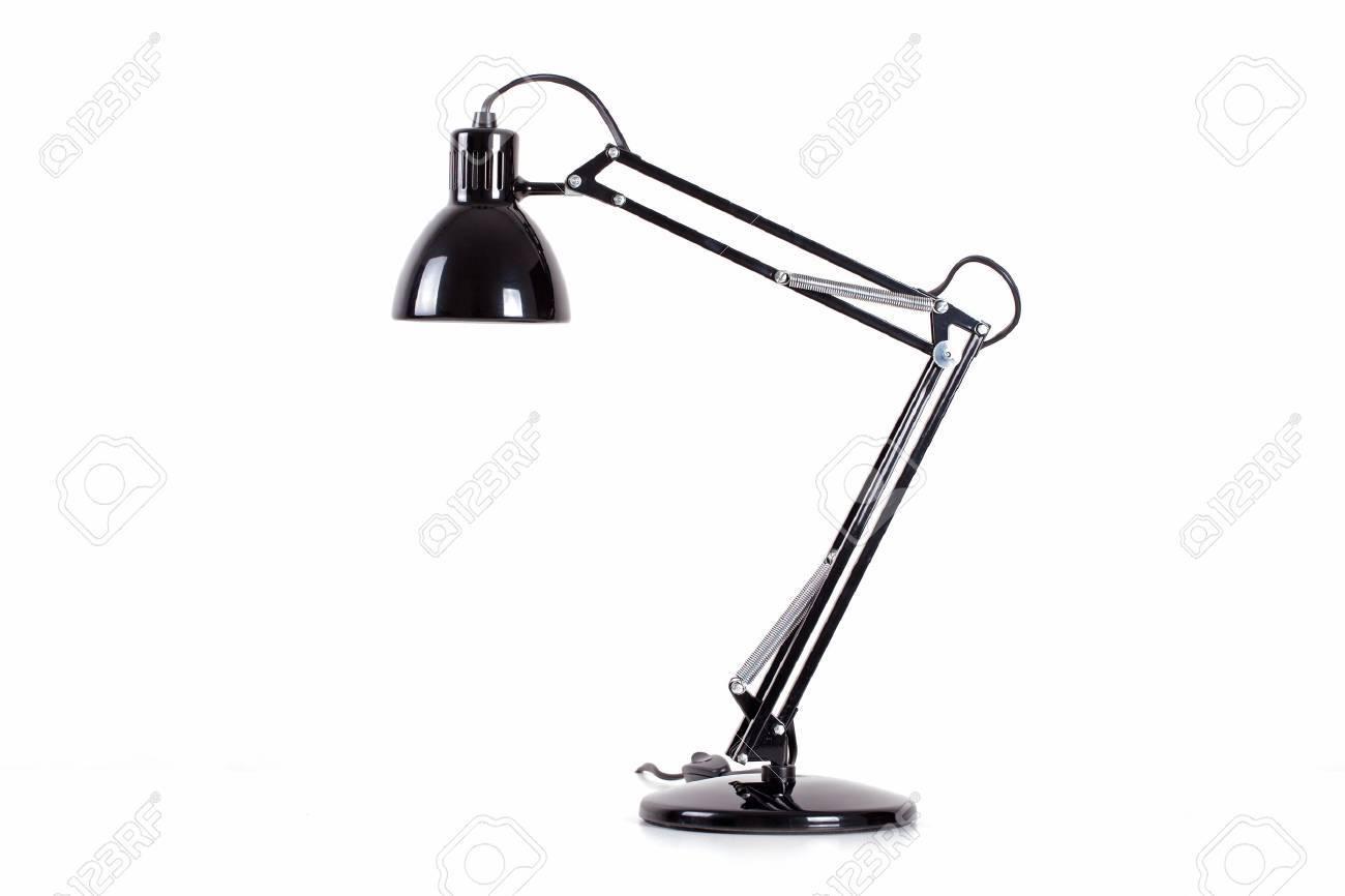 Vintage zwarte bureaulamp op wit wordt geïsoleerd royalty vrije