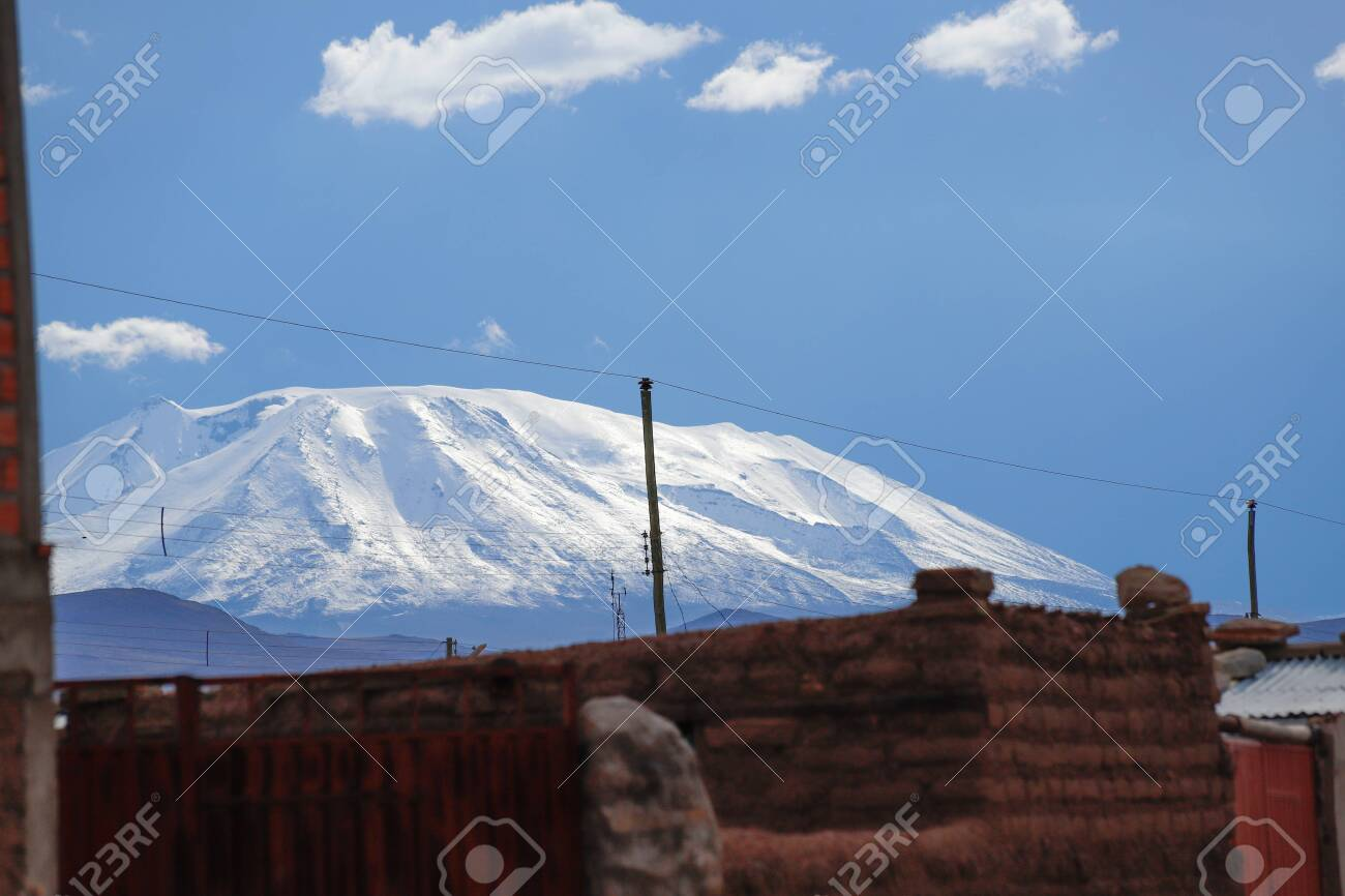 The Snowy Andes Mountains Seen From The Village Of Villa Alota Stock Photo Picture And Royalty Free Image Image 140644383