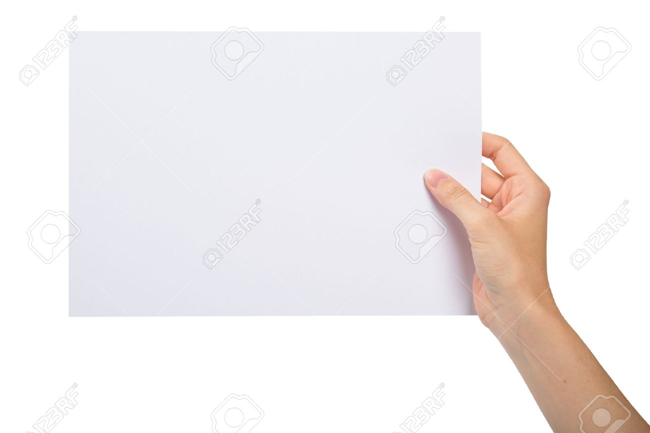 hand holding a blank sheet of paper stock photo picture and royalty