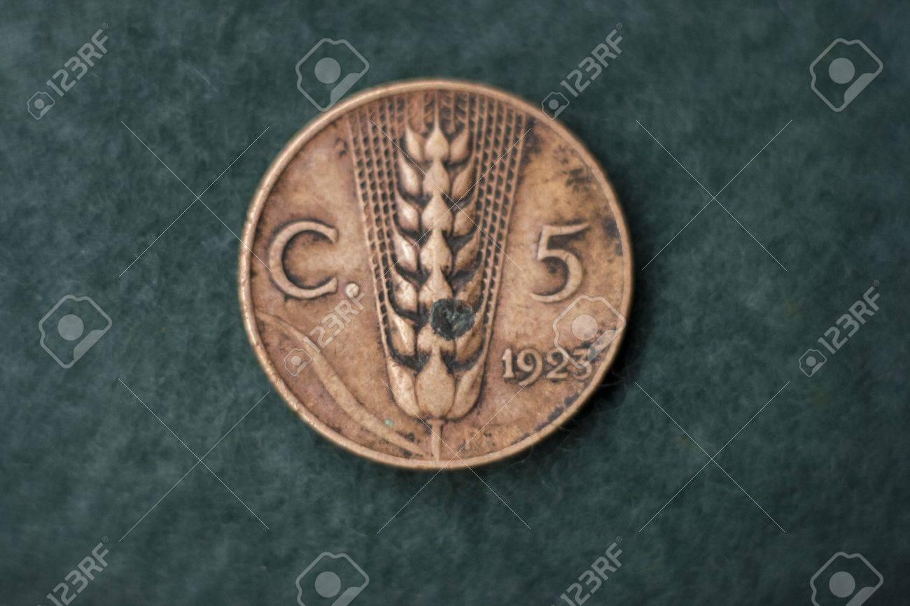 Italienischen 5 Cent Münze In 1923 Faschismus Hera Lizenzfreie