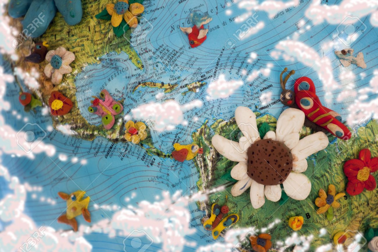 Part Of The World Map With America And Caribbean Sea Plasticine - World map caribbean