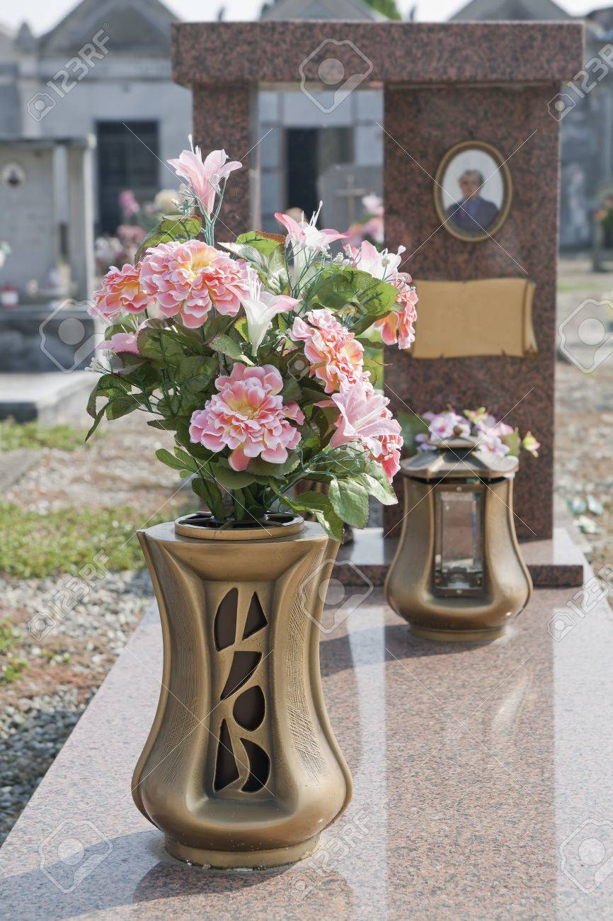 colorful silk flower vase in a cemetery Stock Photo - 10892723 & Colorful Silk Flower Vase In A Cemetery Stock Photo Picture And ...