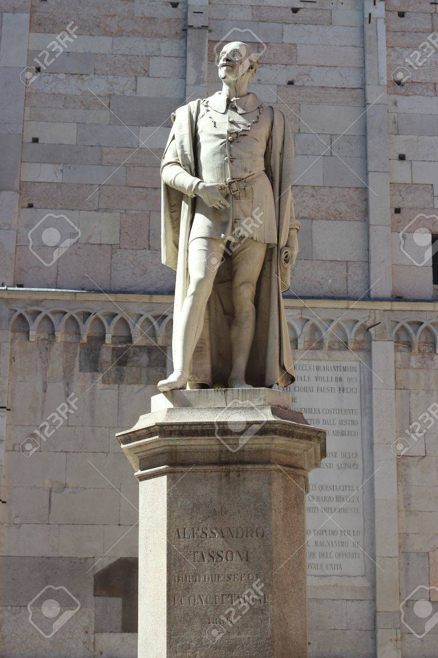 Statue of Poet Alessandro Tassoni By the sculptor Alessandro Cavazza in  Modena, Italy Stock Photo - 13601977