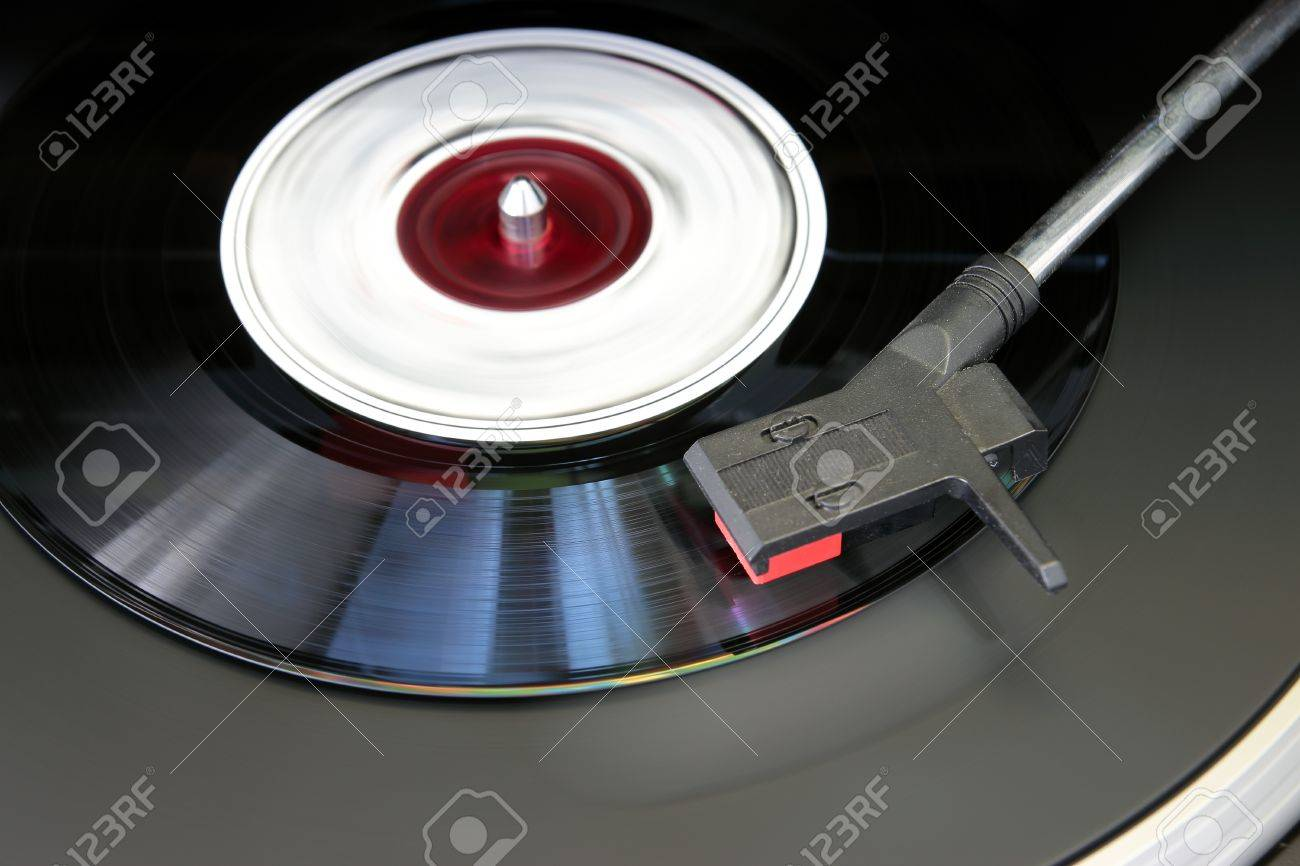 Vintage record player, close up of a Vinyl record Stock Photo - 13748221