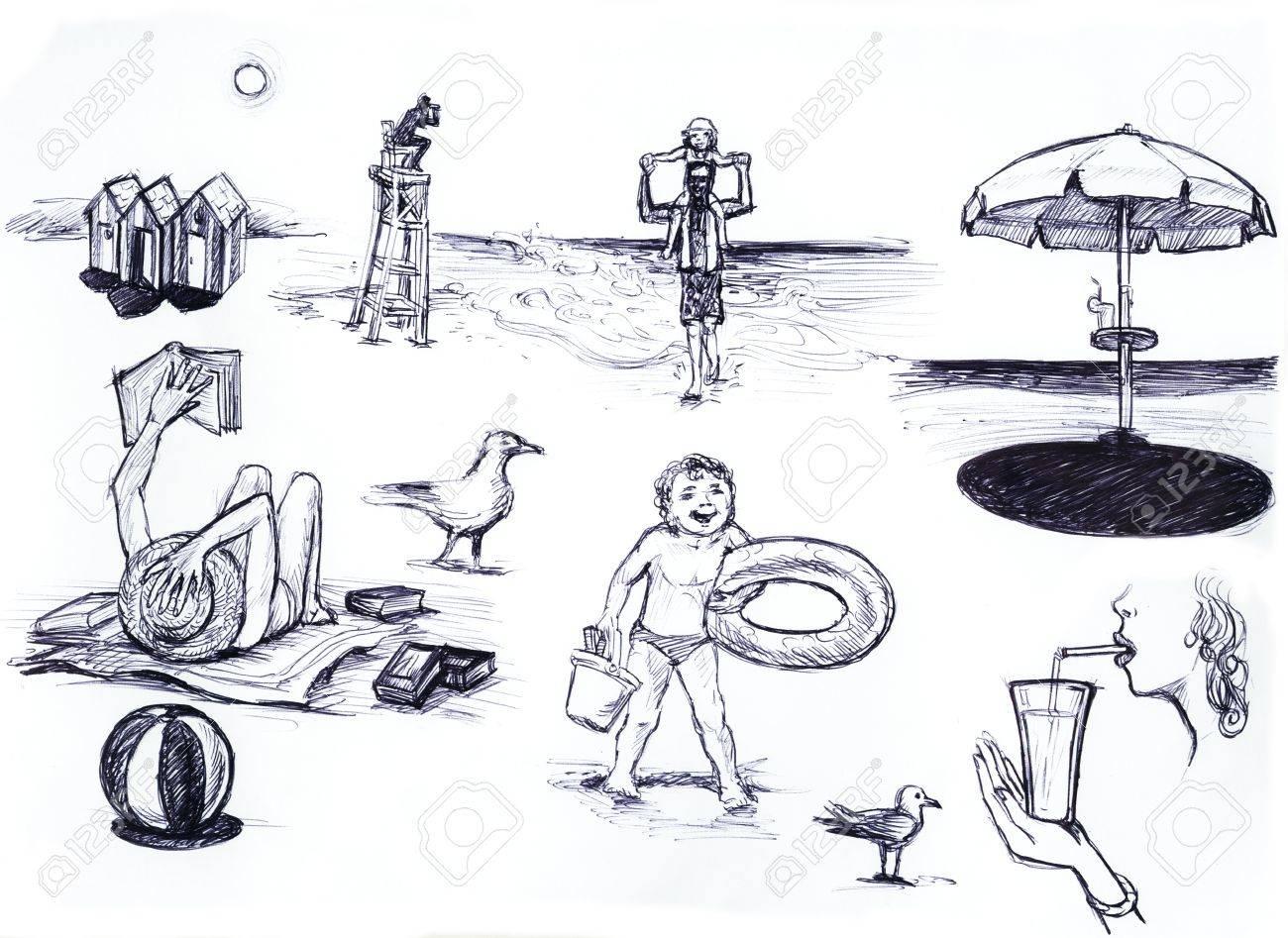 Summer scene at the beach pencil sketch illustration stock illustration 14099442