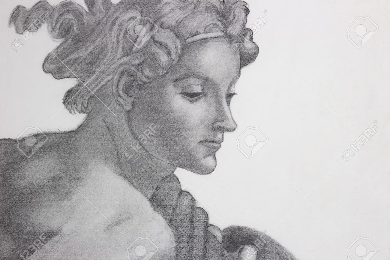 Pencil drawing copy of michelangelos painting stock photo 26575122