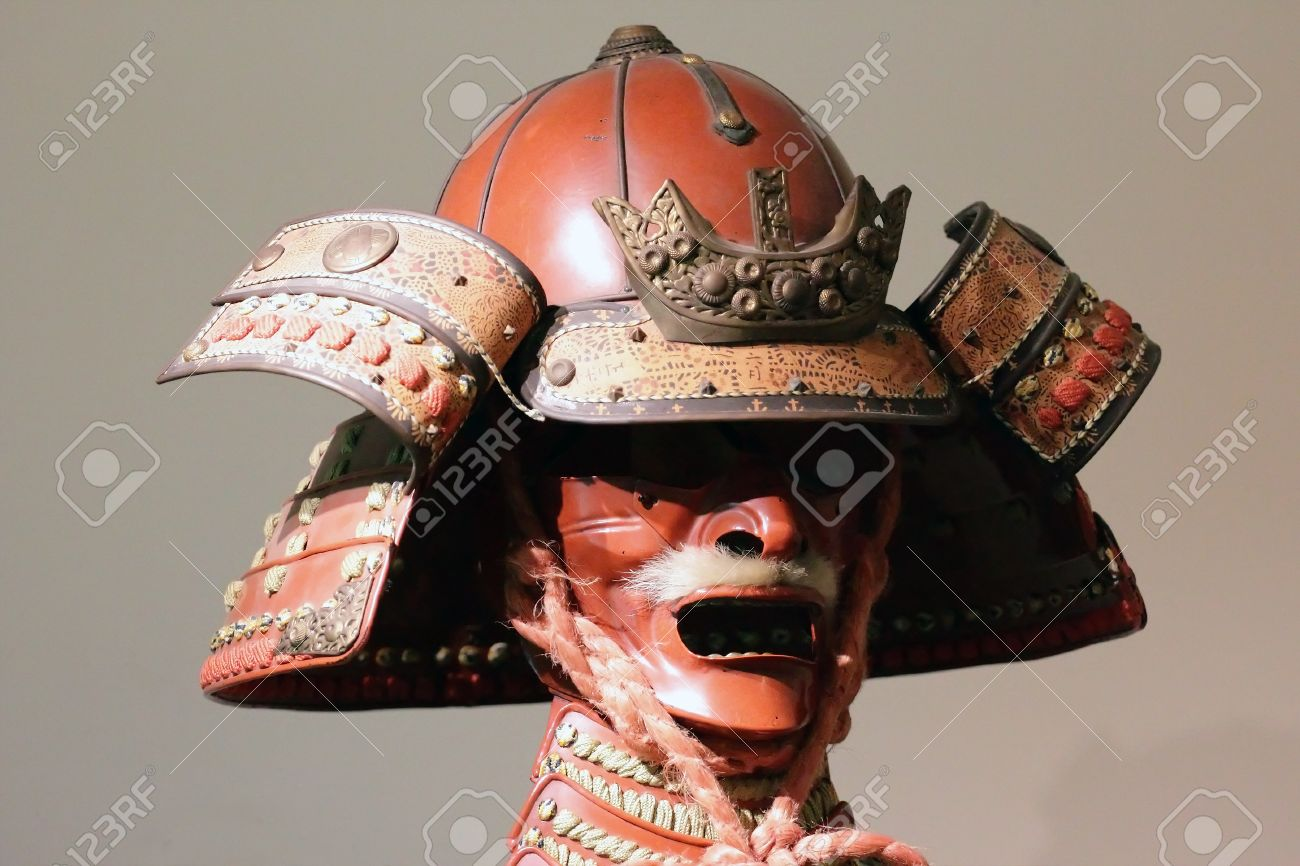 ancient japanese samurai armour scary warrior mask stock photo 61599306
