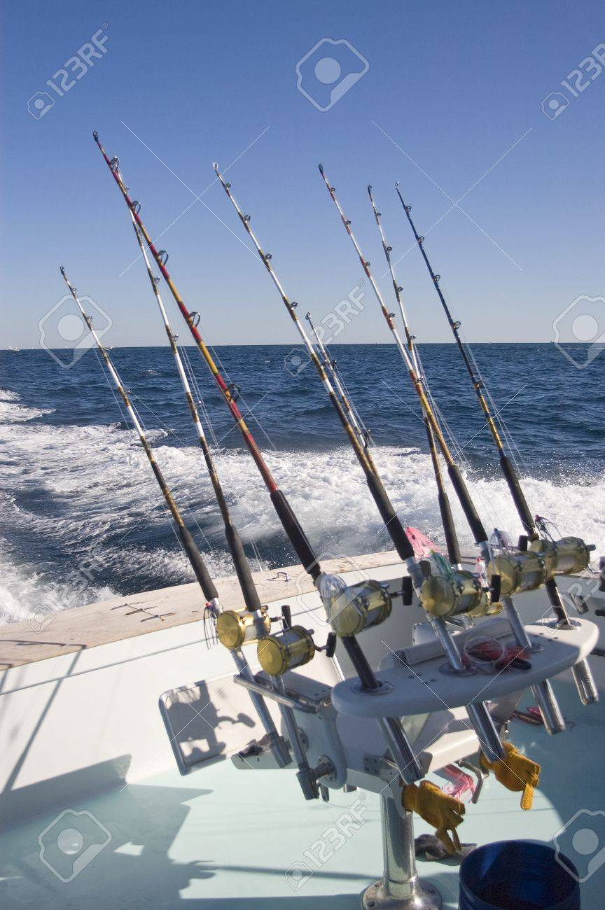 Fighting Chair and Fishing Rodds on Charter Fishing Boat Stock Photo - 16460950