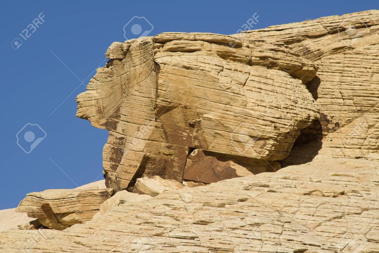 A rabbit shaped rock formation at Red Rock Canyon, Nevada Stock Photo - 18704812