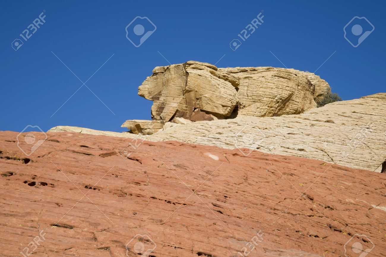 A rabbit shaped rock formation at Red Rock Canyon, Nevada Stock Photo - 18704757