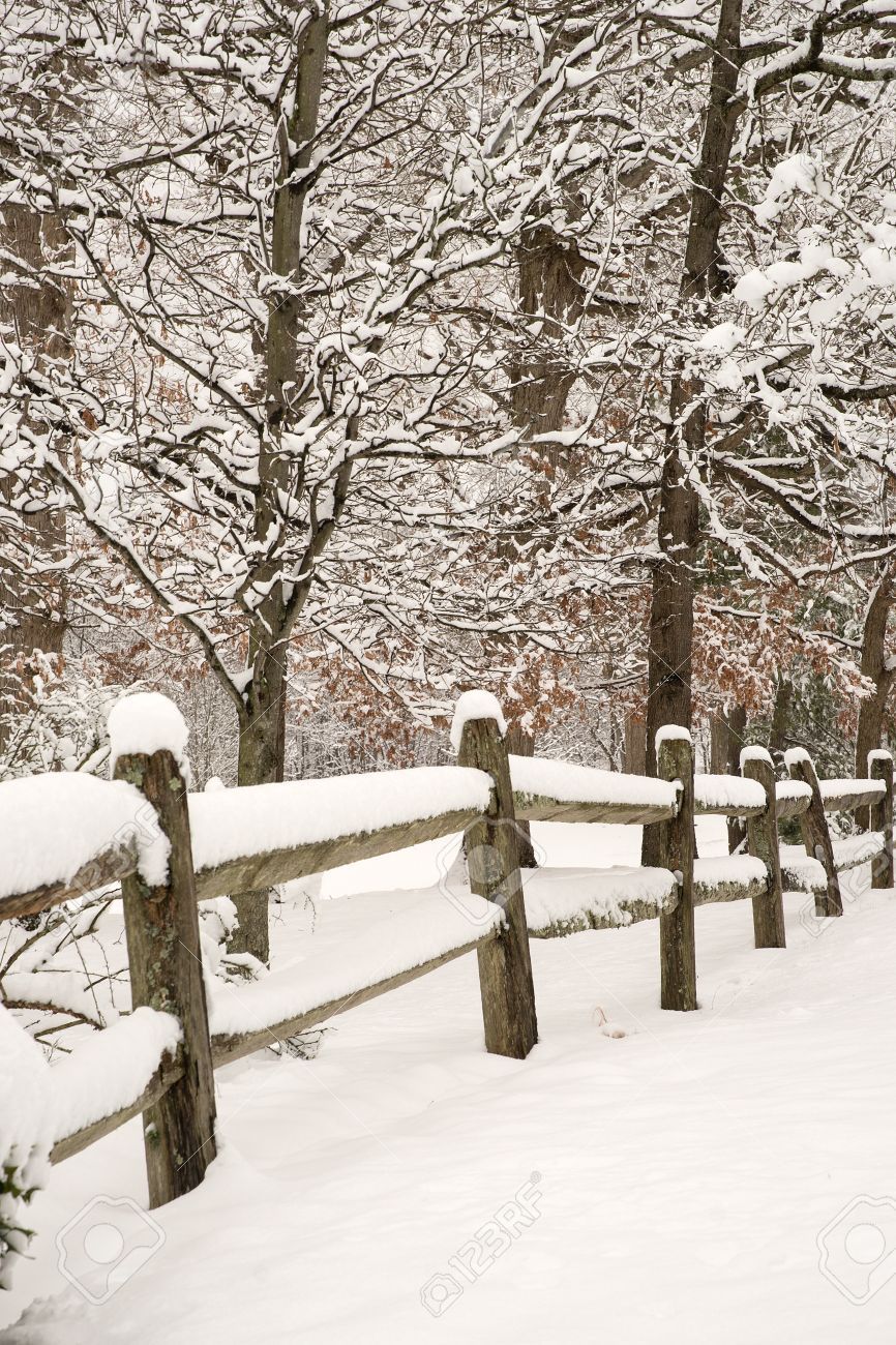 Splitrail fence with fresh snow and snow covered trees Stock Photo - 40559814