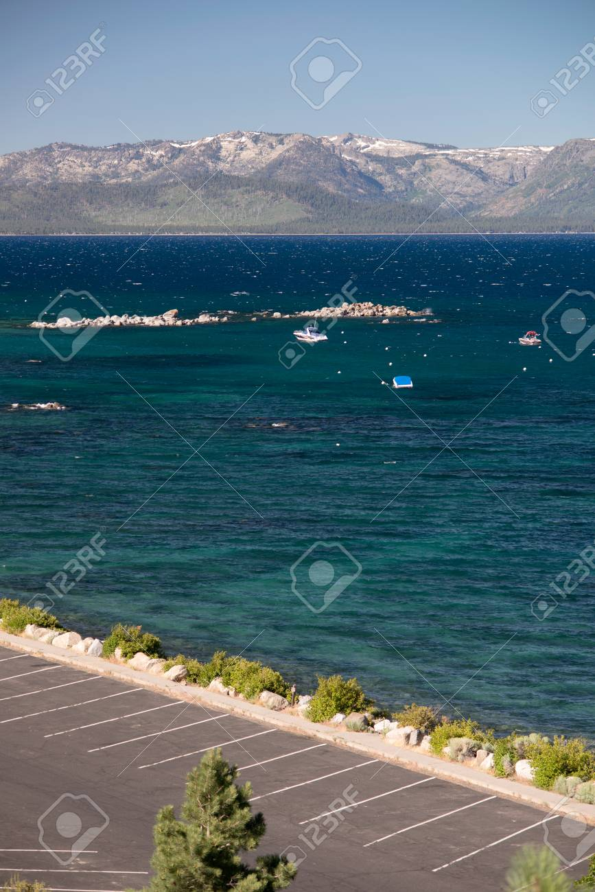 Lake Tahoe and parking area Stock Photo - 74449306