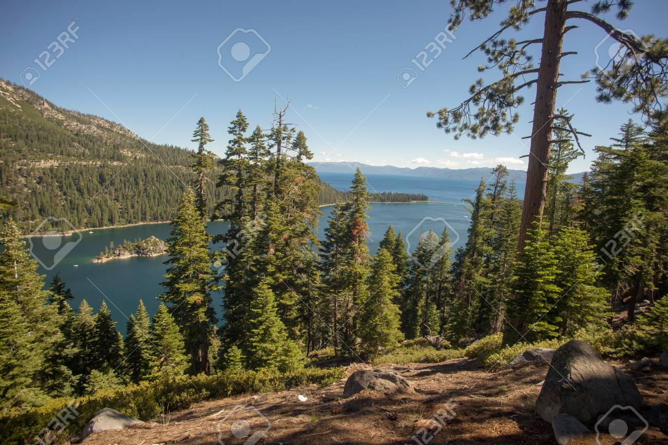 Lake Tahoe through trees Stock Photo - 74449313