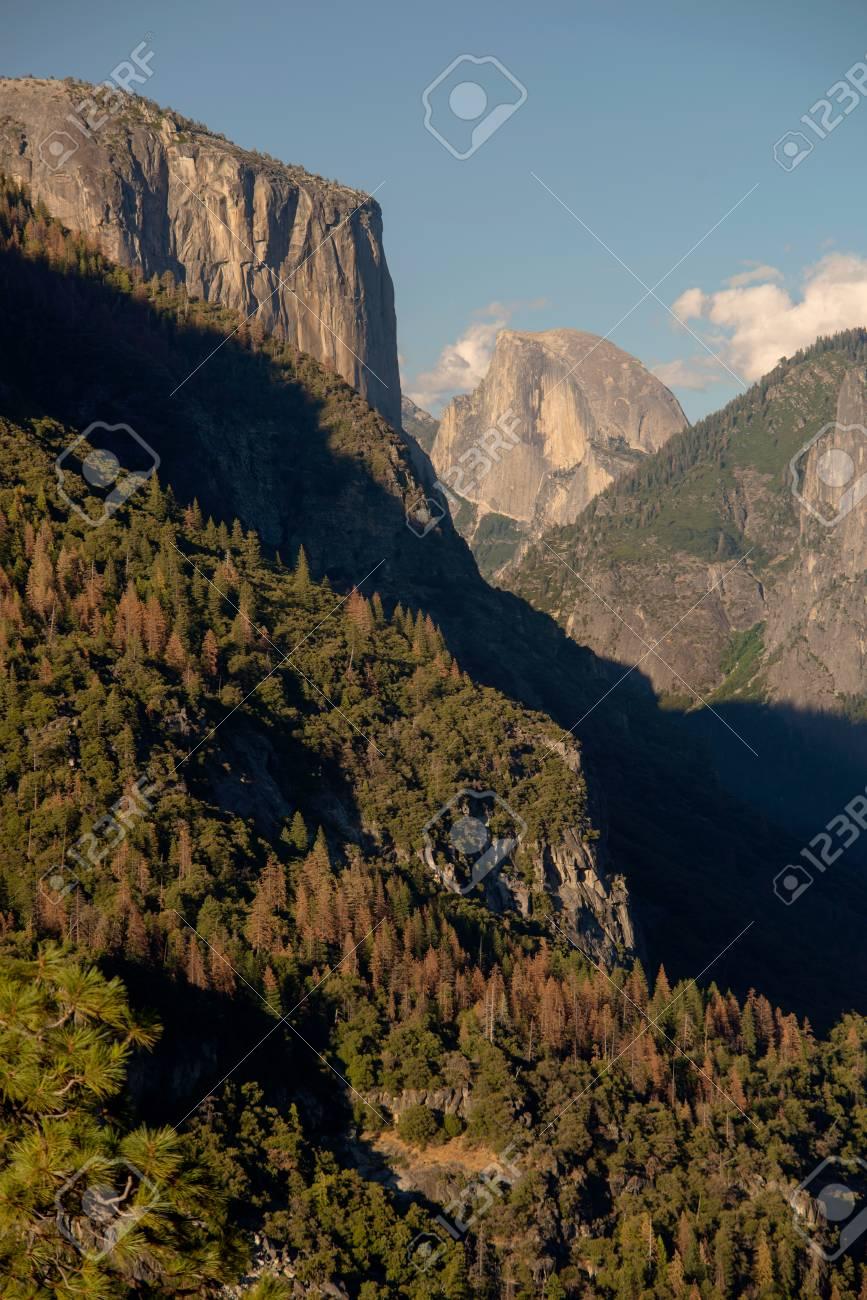 Half Dome and El Capitan in Yosemite National Park Stock Photo - 74449369