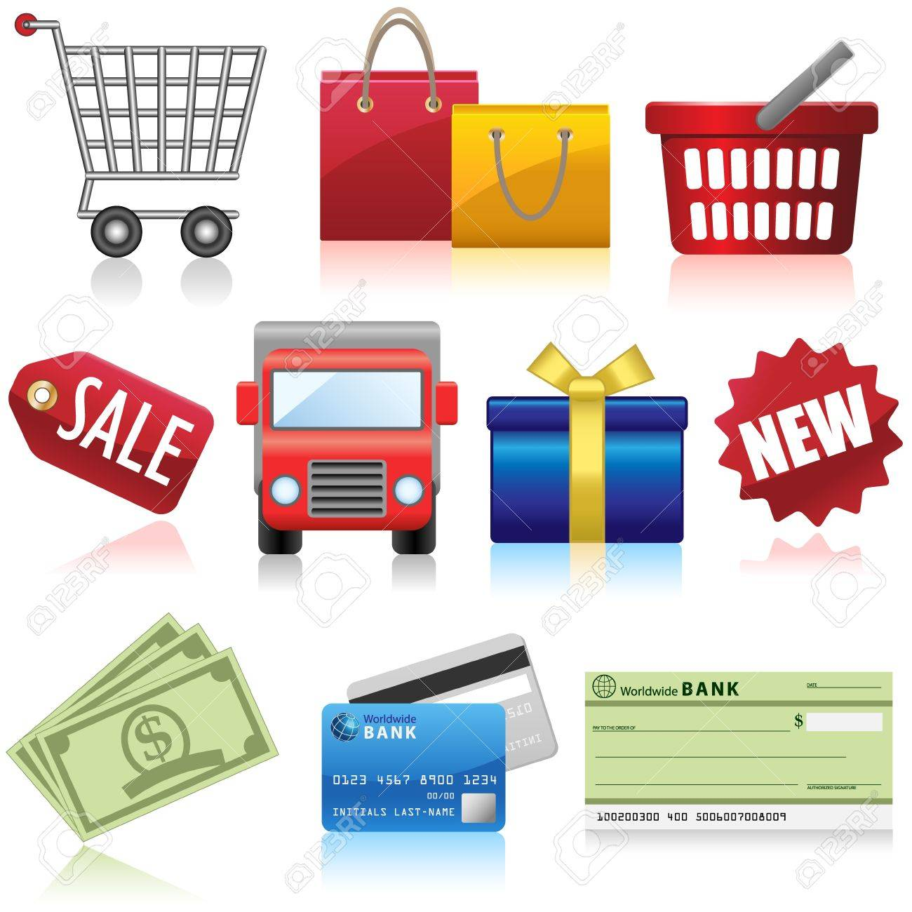 Shopping Business and e-Commerce Icons Stock Vector - 20377972