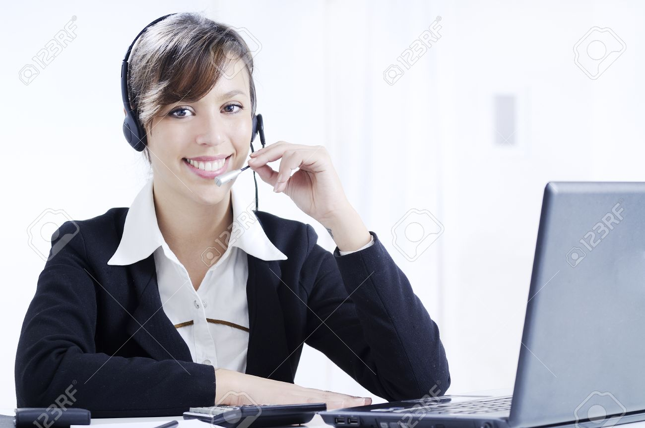 young w working in office laptop and headphones customer stock photo young w working in office laptop and headphones customer service and call center