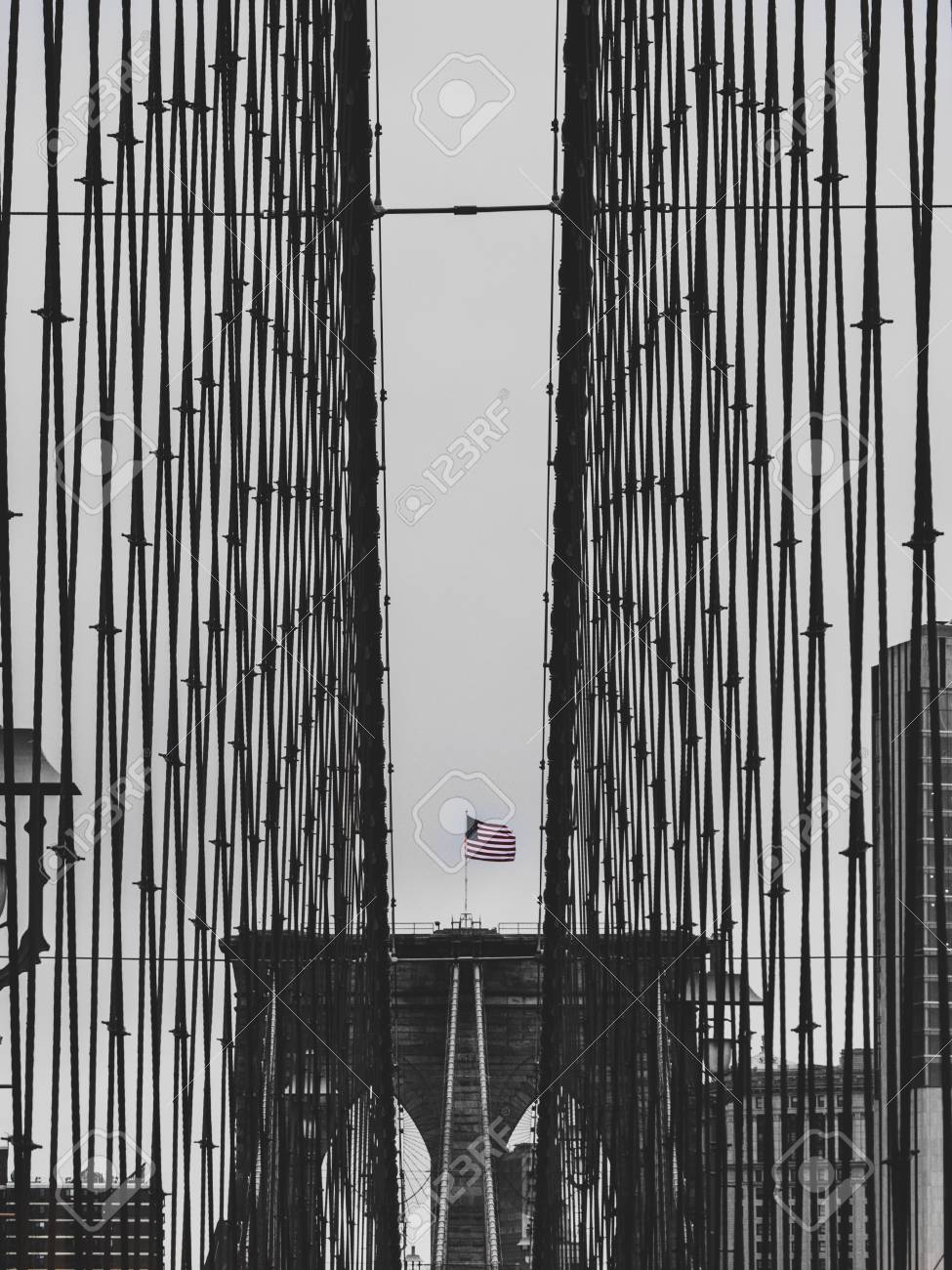 brooklyn bridge black and white with american flag in new york sad mood USA - 108906197