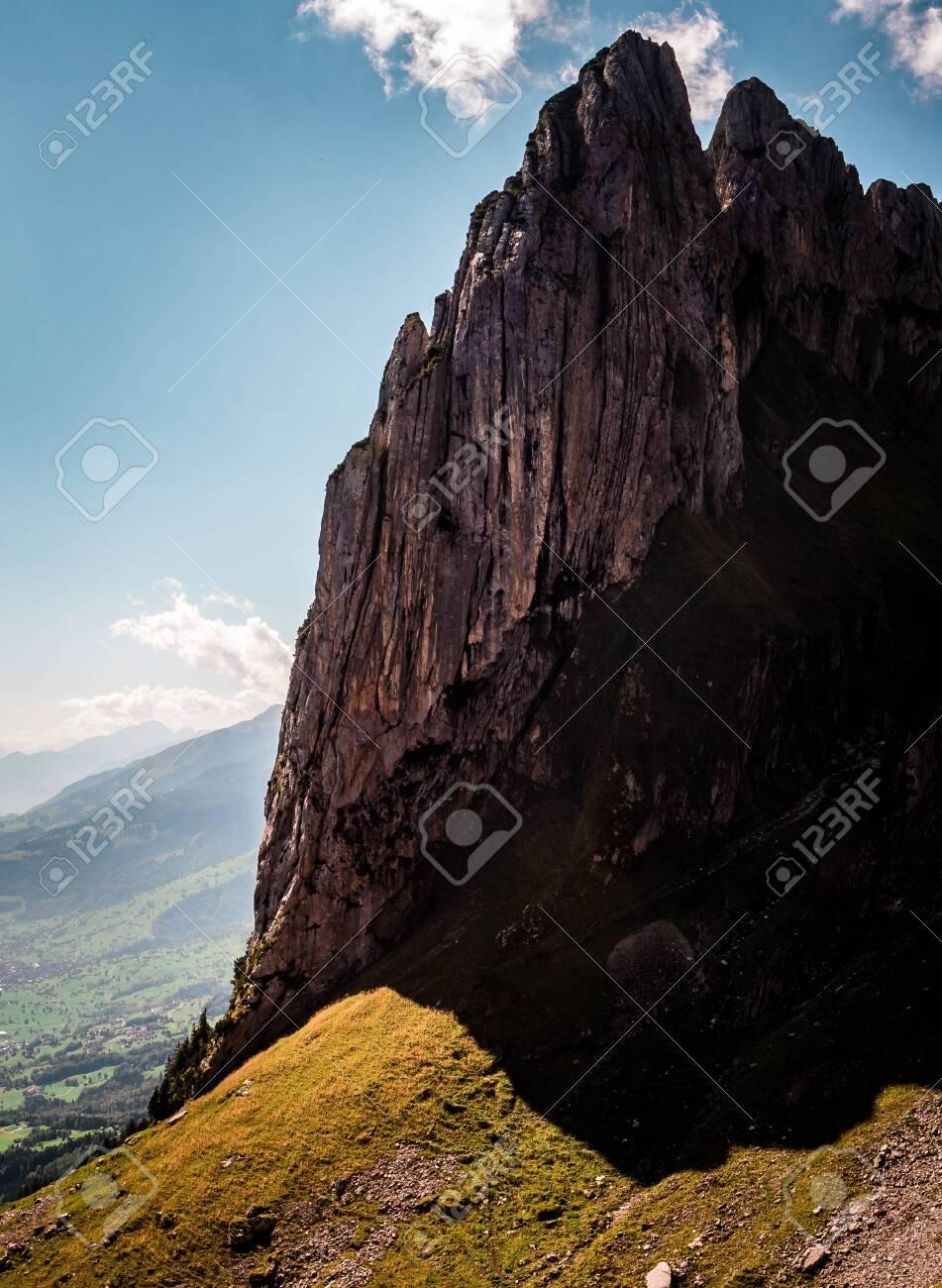 vertical crazy steep mountain rock formation, switzerland alpstein - 120999305