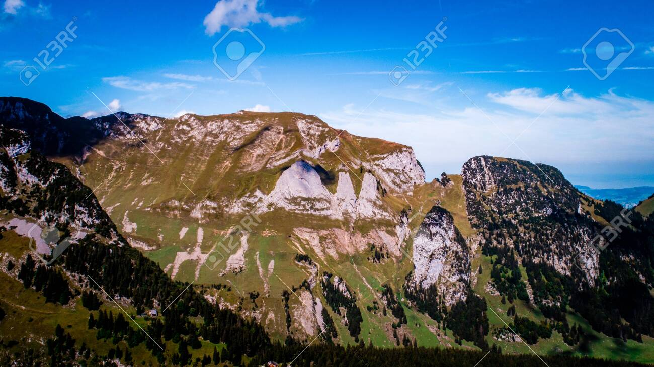 special rock formation in the swiss alps alpstein - 120999328