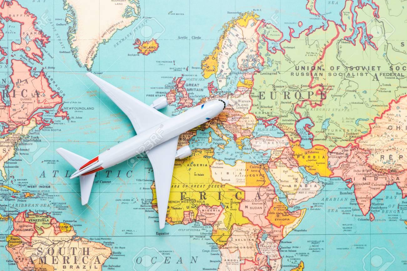 Viajar Viaje Vacaciones Avion De Vista Superior Con Mapa