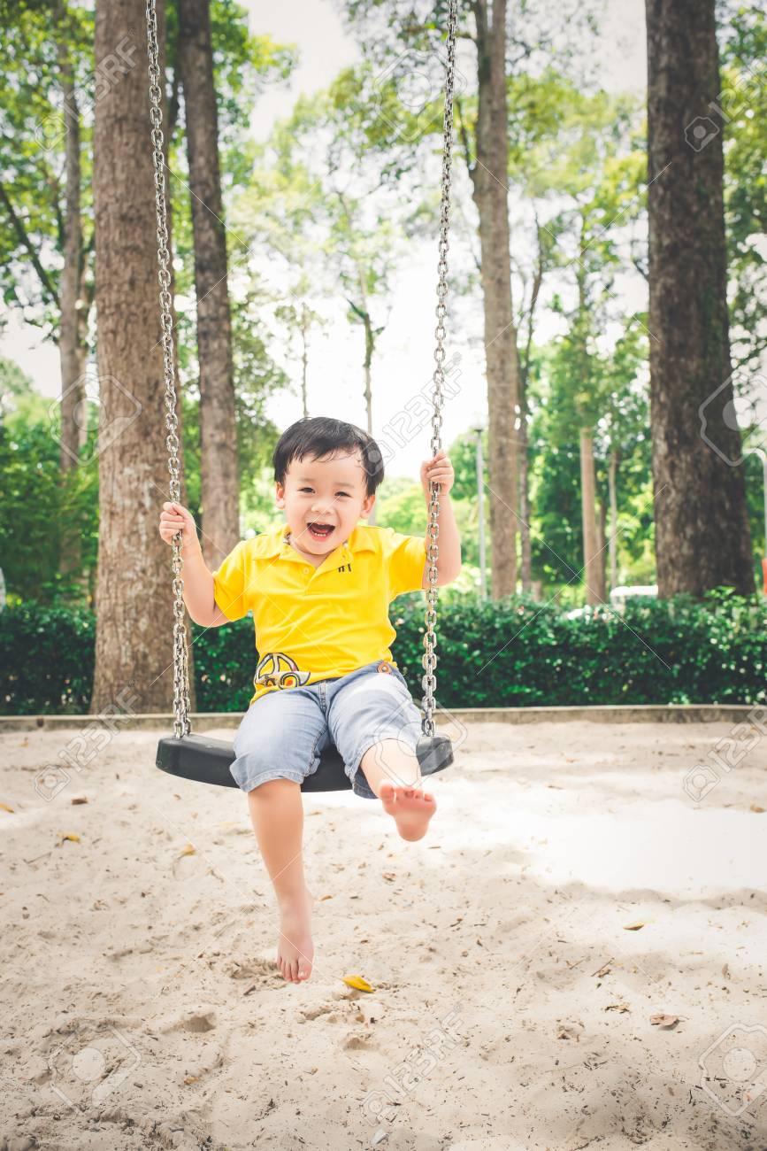 Asian boy outdoors