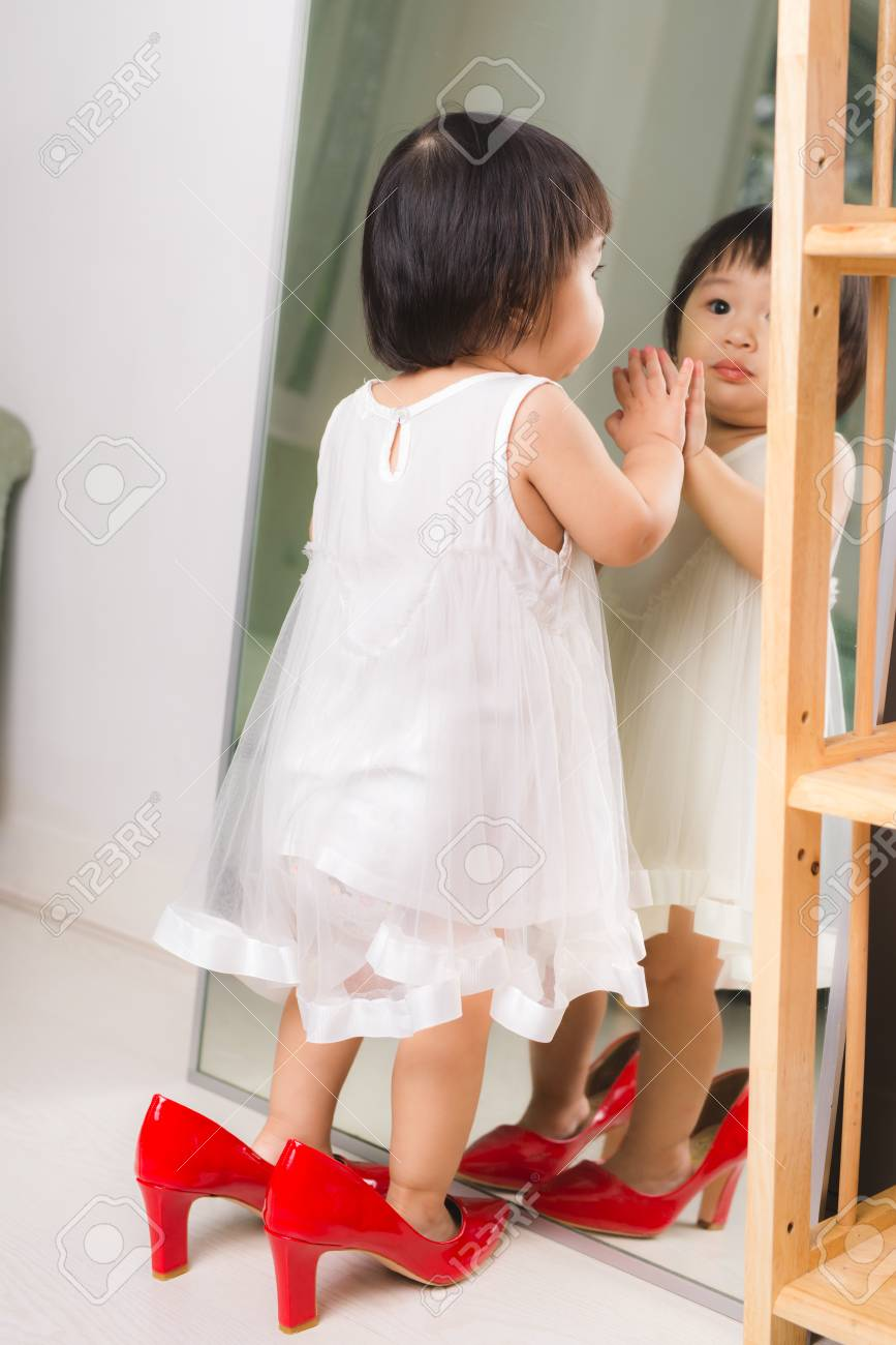 Cute Funny Little Baby Girl Walks At