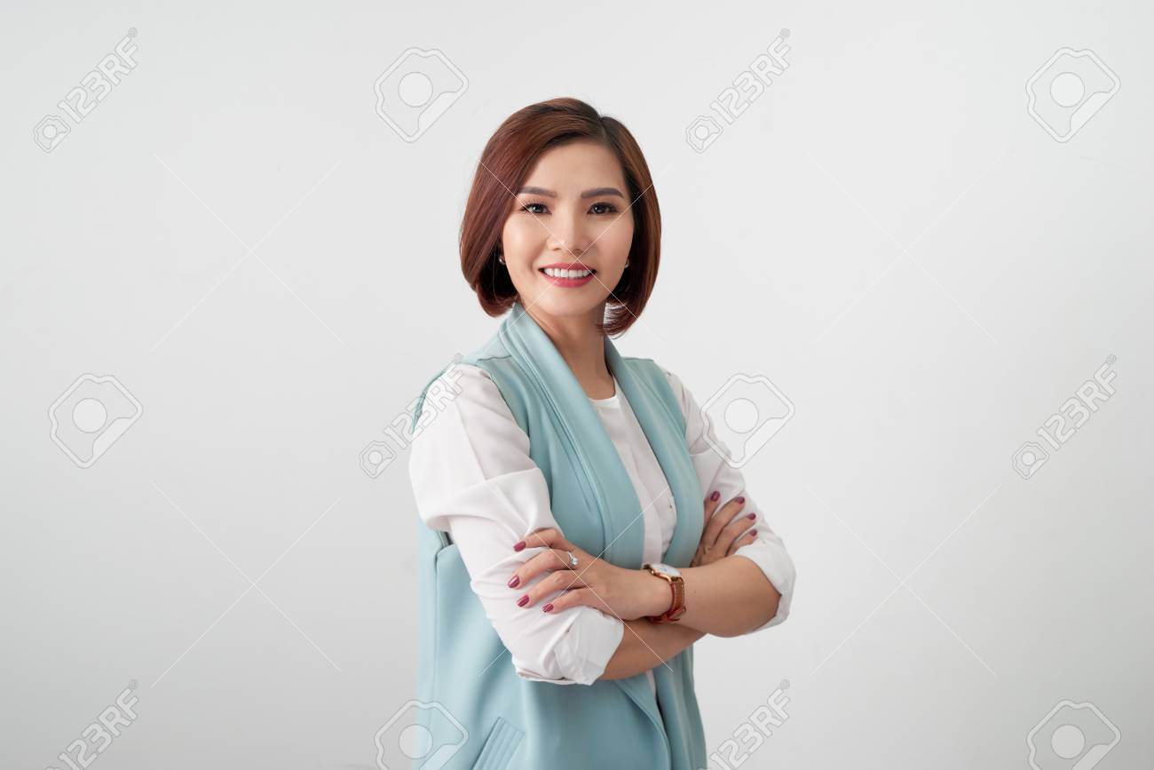Entrepreneur young asian woman, business woman arms crossed on white background. - 112080776
