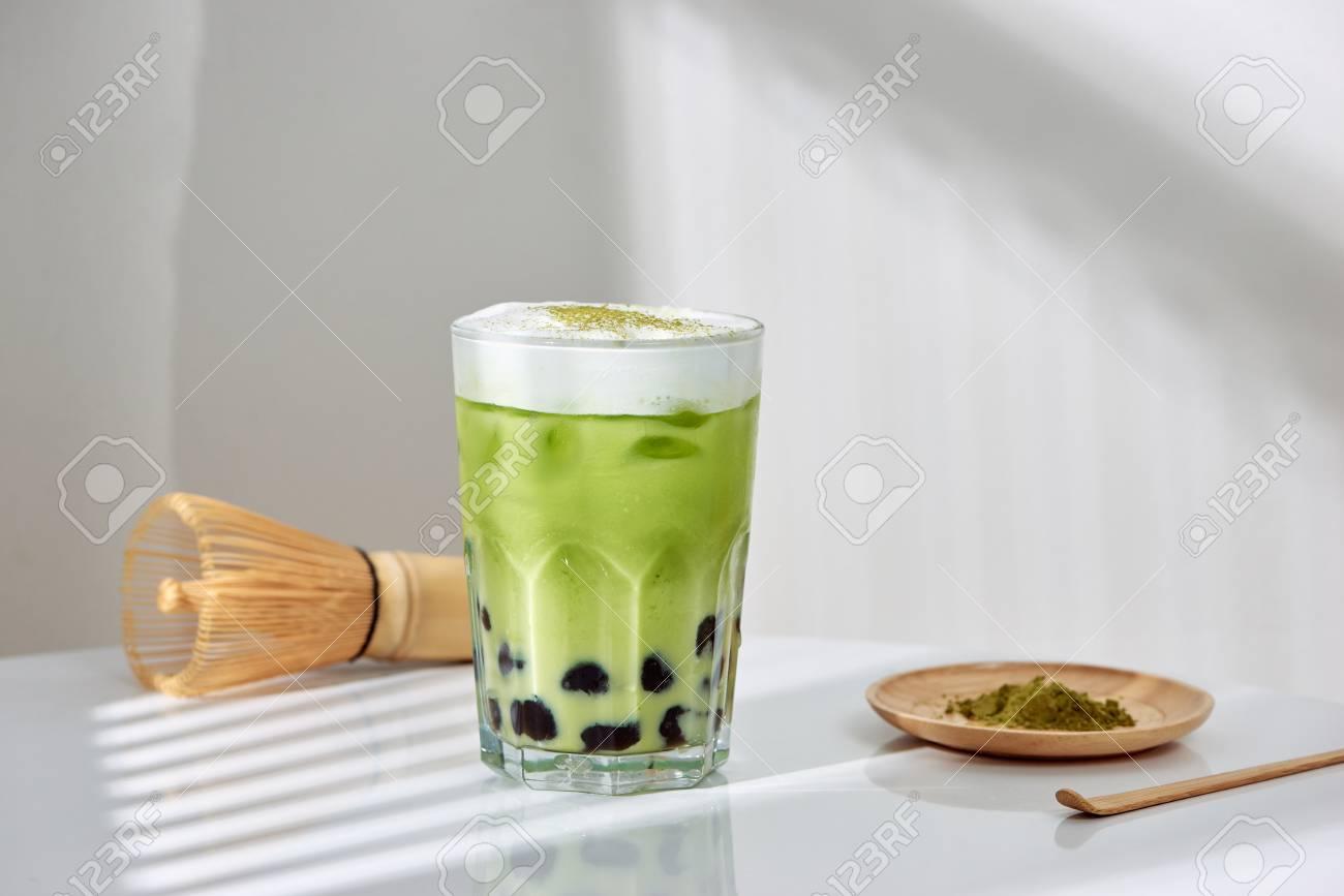 Homemade Tapioca pearl (boboa) green tea (Japanese matcha latte) - creamy and yummy with pretty look - 116086634