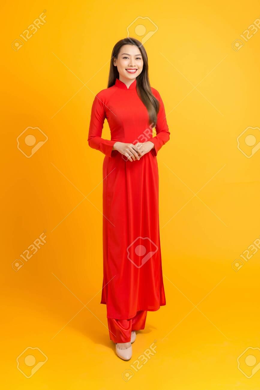 RED//YELLOW Vietnamese ao dai For Girl
