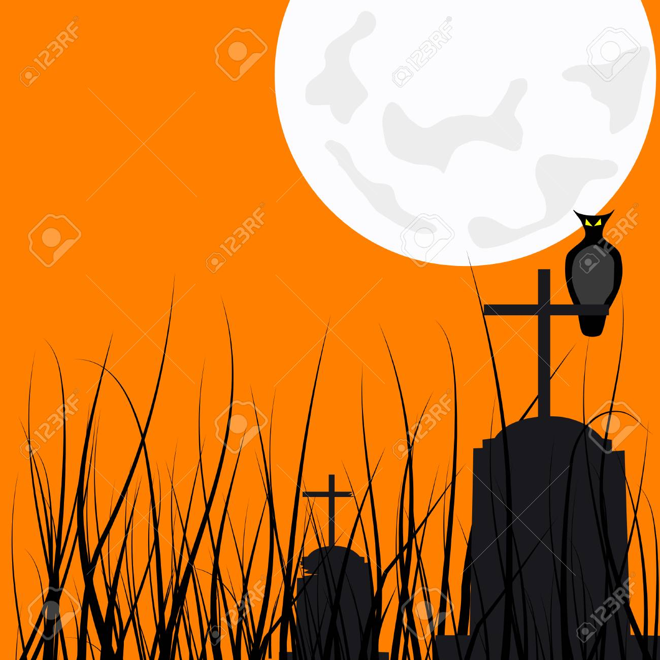 an owl over a cross in an old cemetery Stock Vector - 2482573