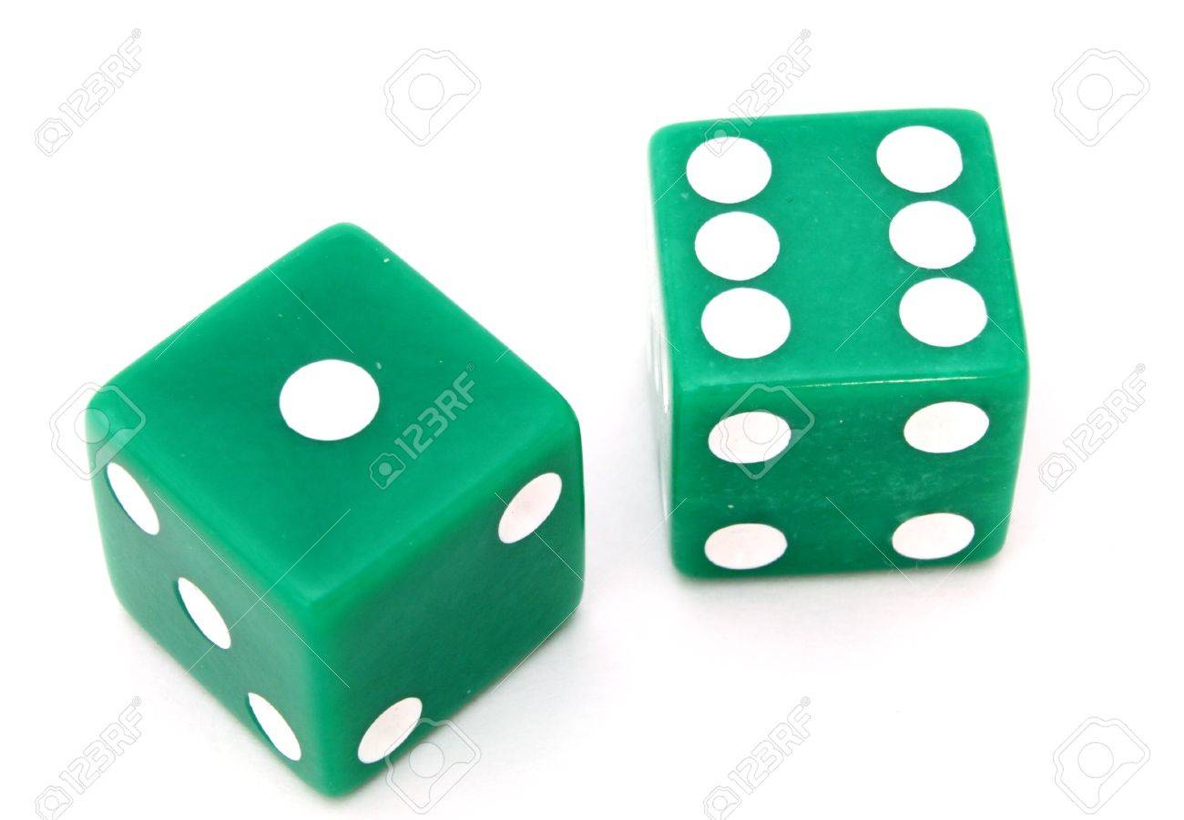 pair of green dice on a white surface Stock Photo - 2666603