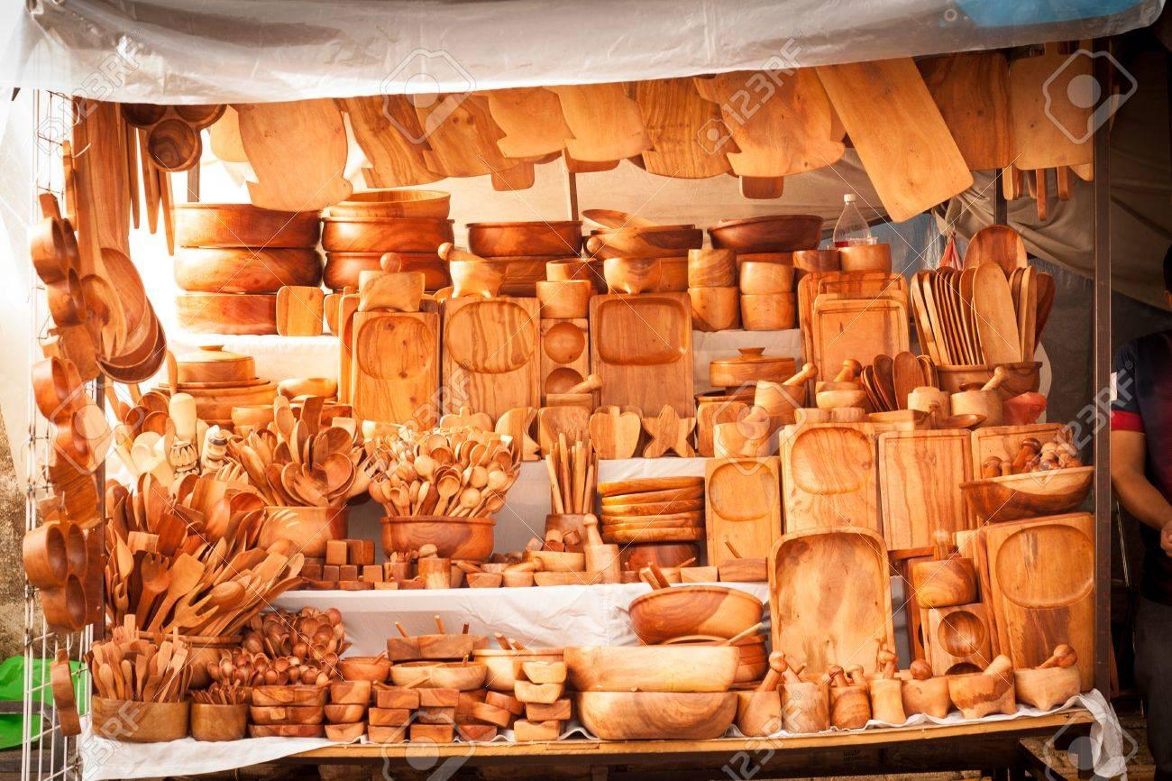 Stock Photo   Wood Traditional Kitchen Utensils Street Market Store At  Tepoztlan, Mexico