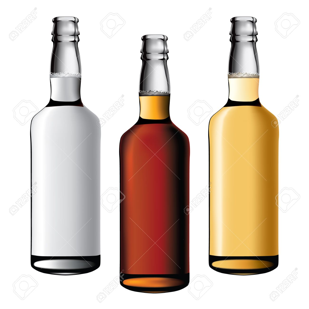 three bottles of alcohol drinks Stock Vector - 8148143