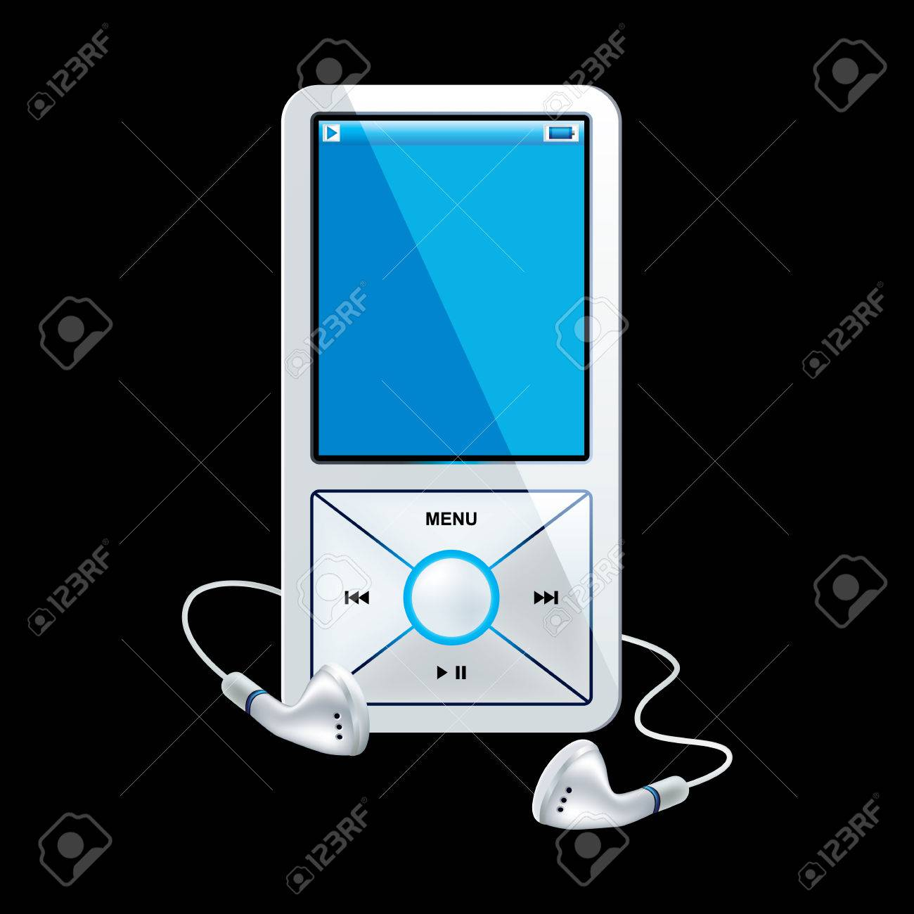 mp3 player white Stock Vector - 8214908