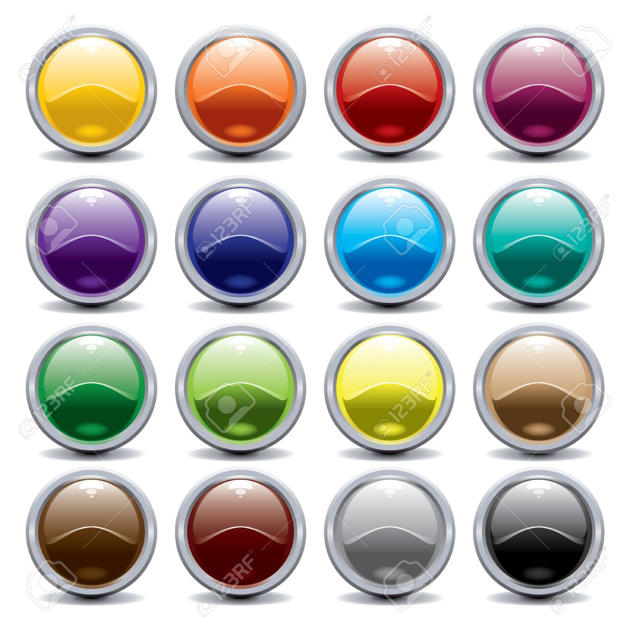 shiny buttons in different colours Stock Vector - 8214912