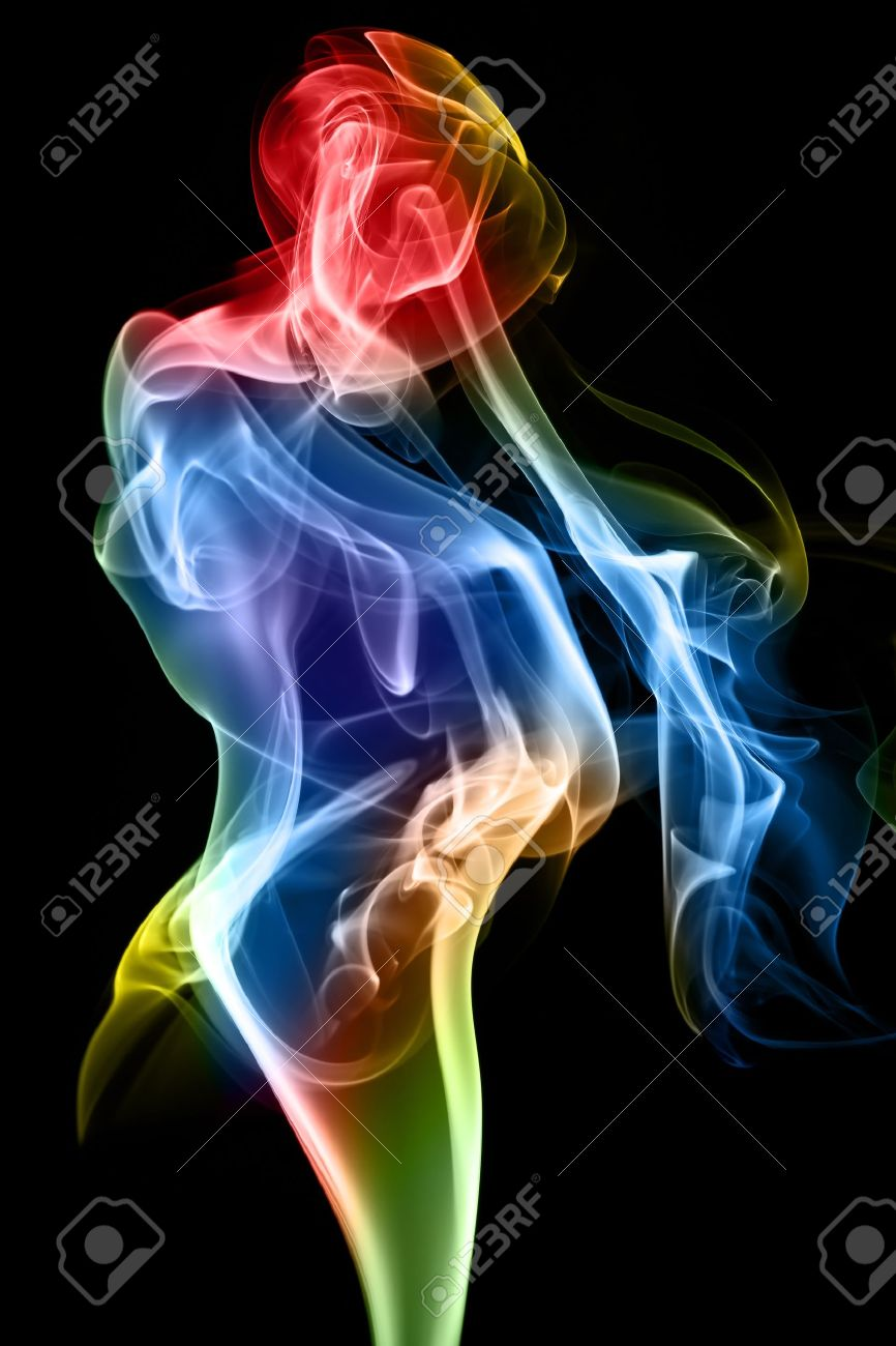 Female figure formed of fine smoke on a black background. Stock Photo - 11835614