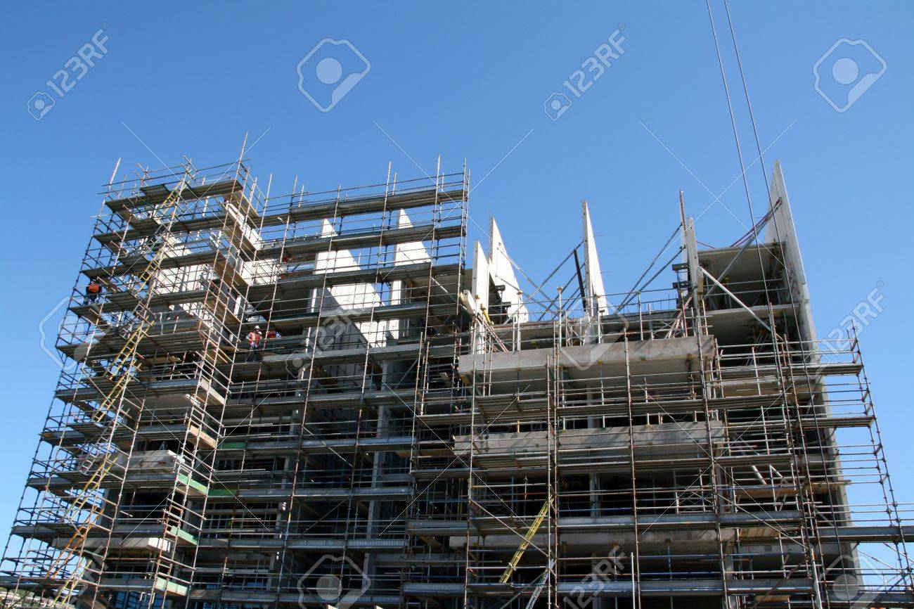 A Large Apartment Building In Construction Stock Photo Picture