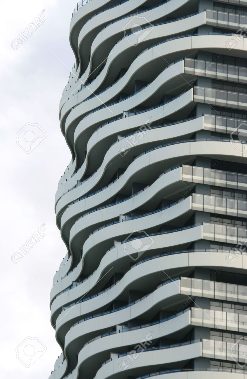 A Curved Facade Of A Modern Apartment Building Stock Photo, Picture ...