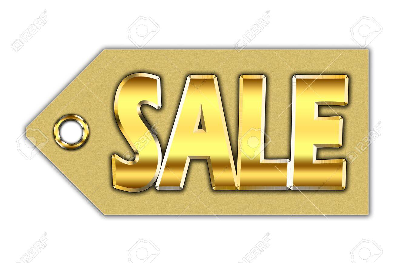Word sale, written with golden letters on golden tag Stock Photo - 15910313