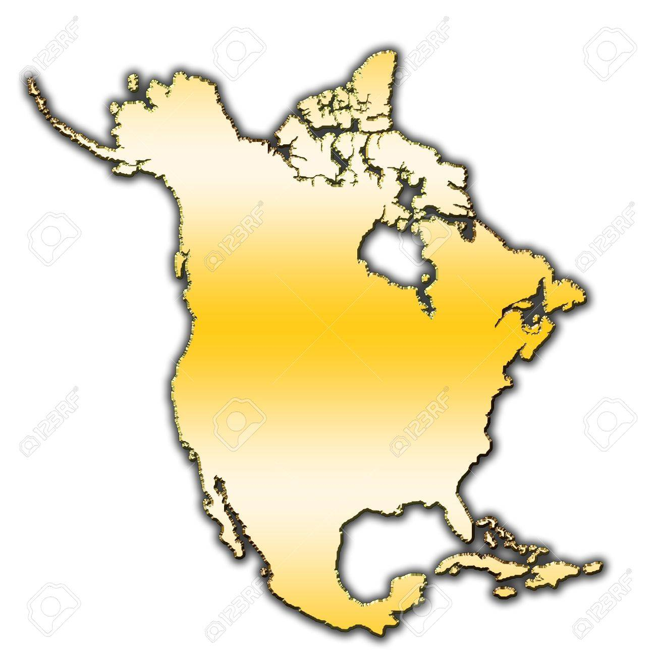 Outline Map Of North America Covered With Gradient Stock Photo ...